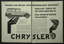 New Chrysler 72 1927 2 Page Ad Advertisement 6250
