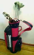 BRIDGESTONE GOLF SET IRONS DRIVER WOODS SUPPLE WOMENS LADIES PINK CART BAG LOT
