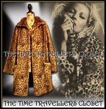 Astraka Vintage 70s Beige Brown Faux Fur Leopard Thigh Length Coat Jacket UK 10