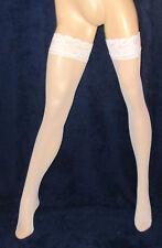 super sexy Halterlose Marken Strümpfe, Weiß, Nylons, Leg-Wear, Stockings, Gr. S