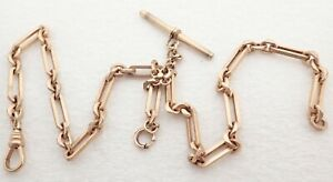 """ANTIQUE 15"""" HEAVY GOLD FILLED LINK POCKET WATCH CHAIN"""