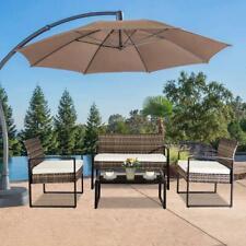 4 Pcs Rattan Patio Furniture Set Cushioned Sofa Chair Coffee Table Garden Lawn