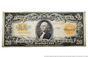 Large Size 1922 20 Twenty Dollar In Gold Coin Certificate George Washington Note