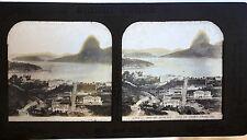 Rio de Janeiro Brésil Stéréo transparent sur gélatine Photo B. K. Paris Vintage