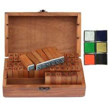 70 pcs Retro Rubber Stamp Alphabet Wooden Box Set Print Style Letter & Number