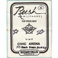 RUSH & STARZ Concert Backstage Pass Ticket PITTSBURGH 1/19/79 HEMISPHERES TOUR