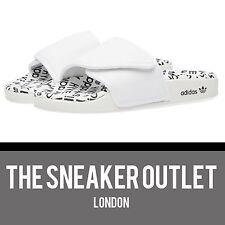 NUOVI Pantaloncini Uomo Adidas Hyke RARA CURSORI UK Taglia 11 // Pantofole Bianco Nero