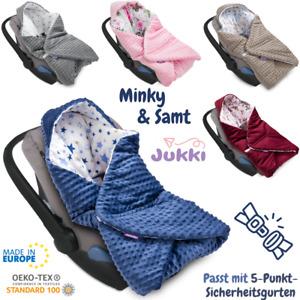 Baby EINSCHLAGDECKE MINKY mit Kapuze Babyschale Kinderwagen Kindersitz Decke ⭐EU