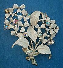 En 637 *) Vintage 50s blanco esmalte arco iris cristal Floral Broche de aurora boreal