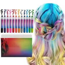 12x Women Girls Temporary Changing Color Hair Dye Hair Chalk Pens Glitter/Normal