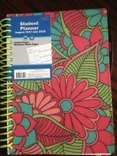 "New Student Planner Aug'17 - July'18 Weekly/Monthly, 5.75""X8"" Flowers Green Bndg"