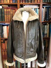 VINTAGE volant veste en cuir avec col en fourrure taille L