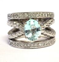 18k white gold .63ct VS1 G diamond blue topaz womens ring 20.9g estate vintage