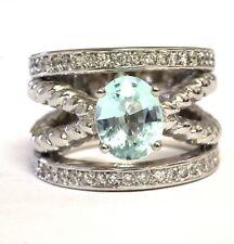 18k white gold .63ct VS1 G diamond blue topaz womens ring 20.9g estate vintage