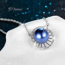 18K WHITE GOLD GF CLEAR CRYSTAL BLUE PEARL PENDANT FASHION NECKLACE