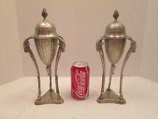 "2x Vintage Metal Ware Rams Head 12"" Tall Incense Lidded Urns Potpourri Holders"