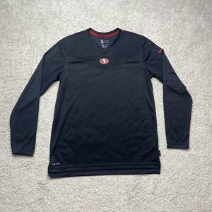 Nike San Francisco 49ers Mens Large Black On Field Dri Fit V-Neck Long Sleeve