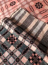 """Vintage Reversible Welsh Wool Blanket 75"""" x 80"""" VGC"""