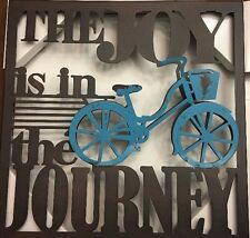 """WAYLAND SQUARE """"THE JOY IS IN THE JOURNEY"""" METAL SENTIMENT SIGNS BROWN & TEAL"""