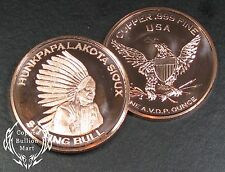 "1oz Copper Bullion Round - ""Lakota - Sitting Bull"" Design"