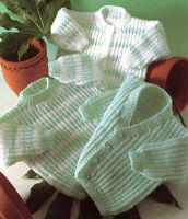 "BABY KNITTING PATTERN ~ DK ~  CARDIGANS V & ROUND NECK /SWEATER ~ 16"" - 22"""