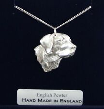 Labrador Dog's Head Necklace in Fine English Pewter, Hand Made and Gift Boxed, L