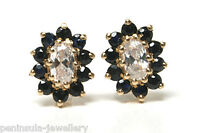 9ct Gold Sapphire Cluster stud earrings Gift Boxed Studs Birthday Made in UK