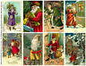 Christmas Holiday Postcard Style Sticker Reproductions, 8 SANTA CLAUS STICKERS