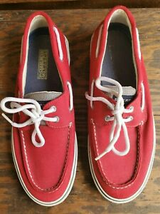 Men's Sperry Top-Sider Bahama Red Blue Canvas Boat Shoes Size 10.5M