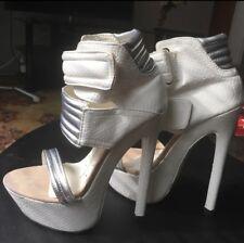 FRH White Silver Velcro High Heel Platform Sandals 6 M