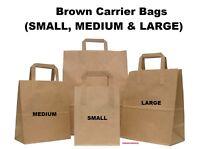 White OR Brown Kraft Paper SOS Flat Handle Party Paper Bags Takeaway Loot