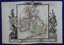 Rare original antique map BRITISH ISLES, ENGLAND, IRELAND, Perrot, Migneret,1823