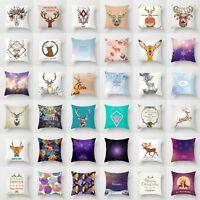 Deer Elk Pillow Cover Throw Pillow Case Sofa Cushion Cover Home Decor 18''