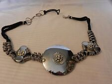 Vintage Silver Metal Women's Costume Jewelry Belt Silver and Black from Korea