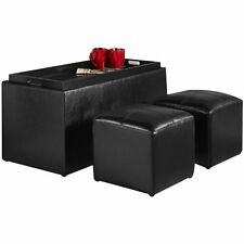 Storage Bench 2 Side Ottomans Black Set Faux Leather Serving Tray Coffee Table