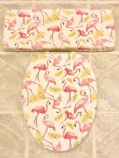Pink Flamingo Bird Bathroom Decor Toilet Seat Lid Cover Set