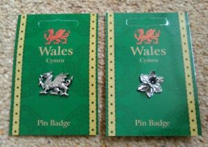 Welsh Silver Pewter Daffodil And Dragon Lapel Pin Badges