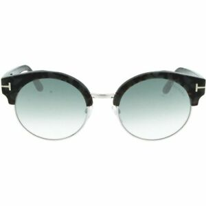 Tom Ford Alissa 02 TF608 55X Havana Silver Round Mirror Sunglasses 54-21-140