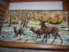 "Vintage Velvet Tapestry Rug Italy 38"" x 19"" Deer Elk Stag Mountain Scene Snow"