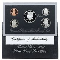 1998 S Proof Set Original Box & COA 5 Coins 90% Silver Kennedy US Mint