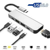 8 in1 USB-C To Type-C 3 USB 3.0 Hub HDMI RJ45 Ethernet Micro SDTF OTG Adapter