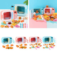 Microwave Toys Kitchen Play Set,Kids Pretend Play Electronic Oven with Play Food
