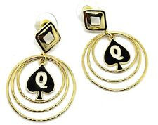 QOS Queen Of Spades Branded Multi Hoop Earrings with Hotwife Vixen Charm, Cuckol