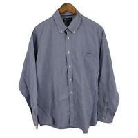 Blazer Mens Button Up Shirt Size Extra Large XL Blue Plaid Long Sleeve Collared
