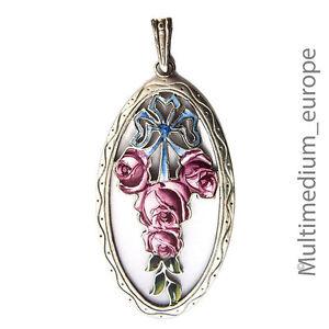 Anhänger Art Deco versilbert Emaille Blumen Rose Schleife enamel pendant 1910
