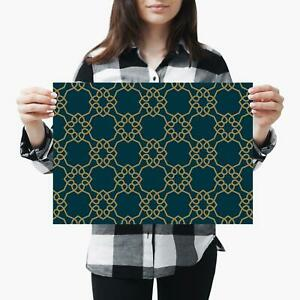 A3  Green Ornament Gold Deco Geometric Size A3 Poster Print Photo Art Gift #2454