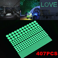 1Sheet 407Pcs Luminous Glow In The Dark Star Round Dot Wall Stickers Room Decor