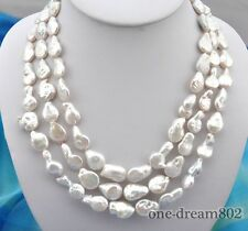 """white freshwater pearl necklace 3row 20"""" 19mm baroque"""