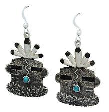 Lee Begay, French Hook Earrings, Tufa Cast, Turquoise, Yei' Mask, Navajo, 2 in