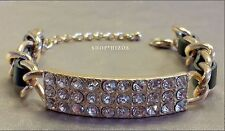 BLACK LEATHER GOLD CHAIN LINK ID PAVE CRYSTAL CLASP BRACELET NEW